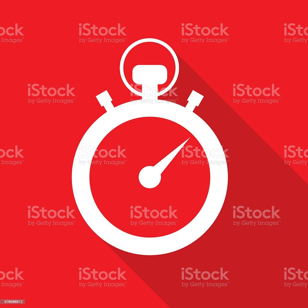 Red Stopwatch Icon vector art illustration