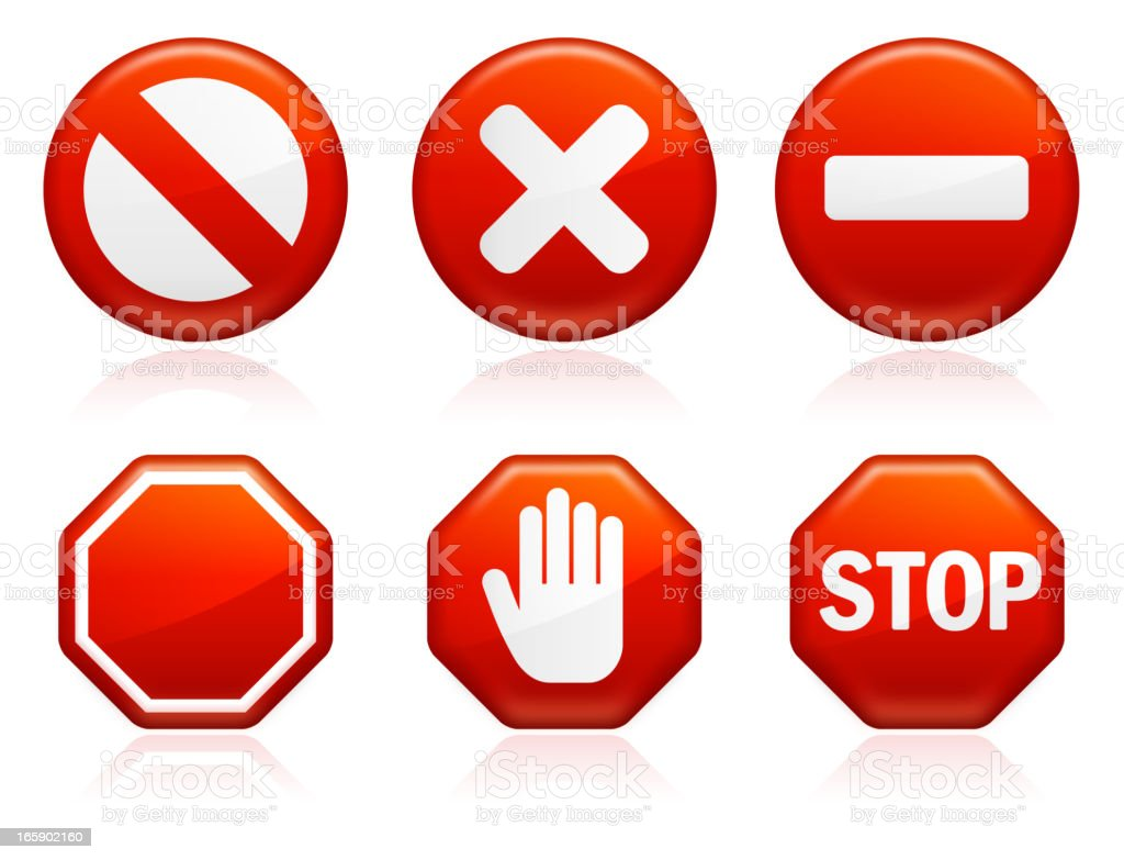 Red Street Stop Signs vector art illustration