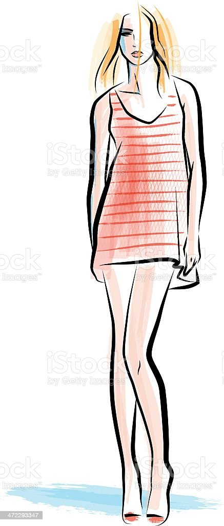Red striped Dress royalty-free stock vector art