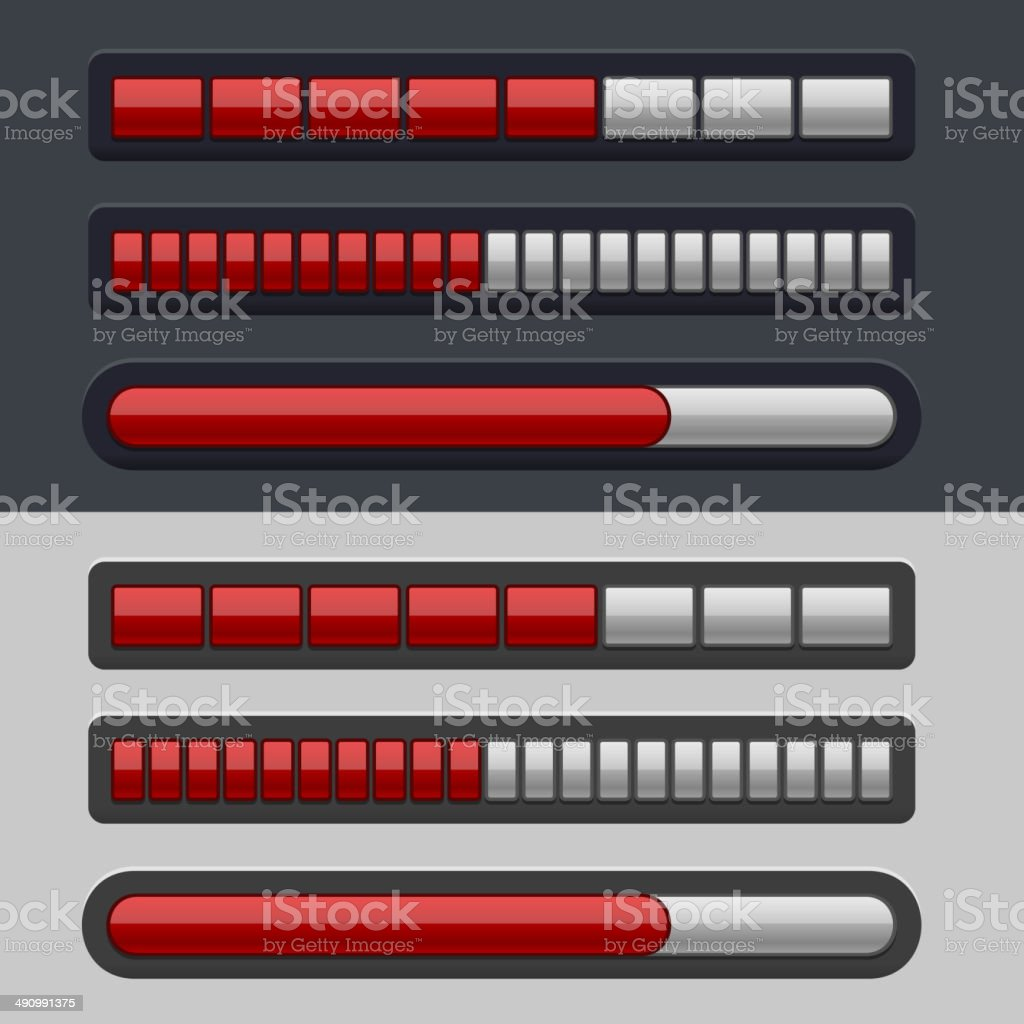 Red Striped Progress Bar Set royalty-free stock vector art
