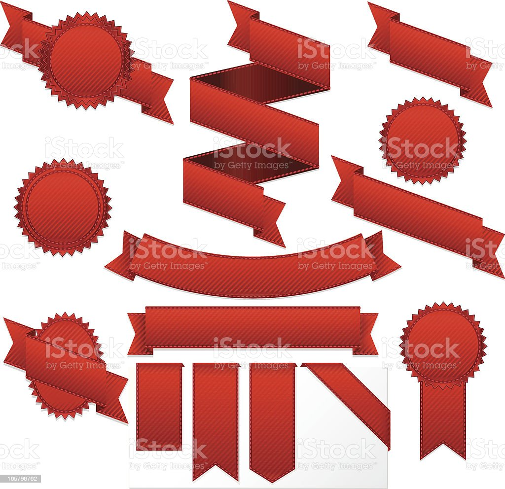 Red Striped Ribbons, Labels, Banners, and Stickers Set vector art illustration