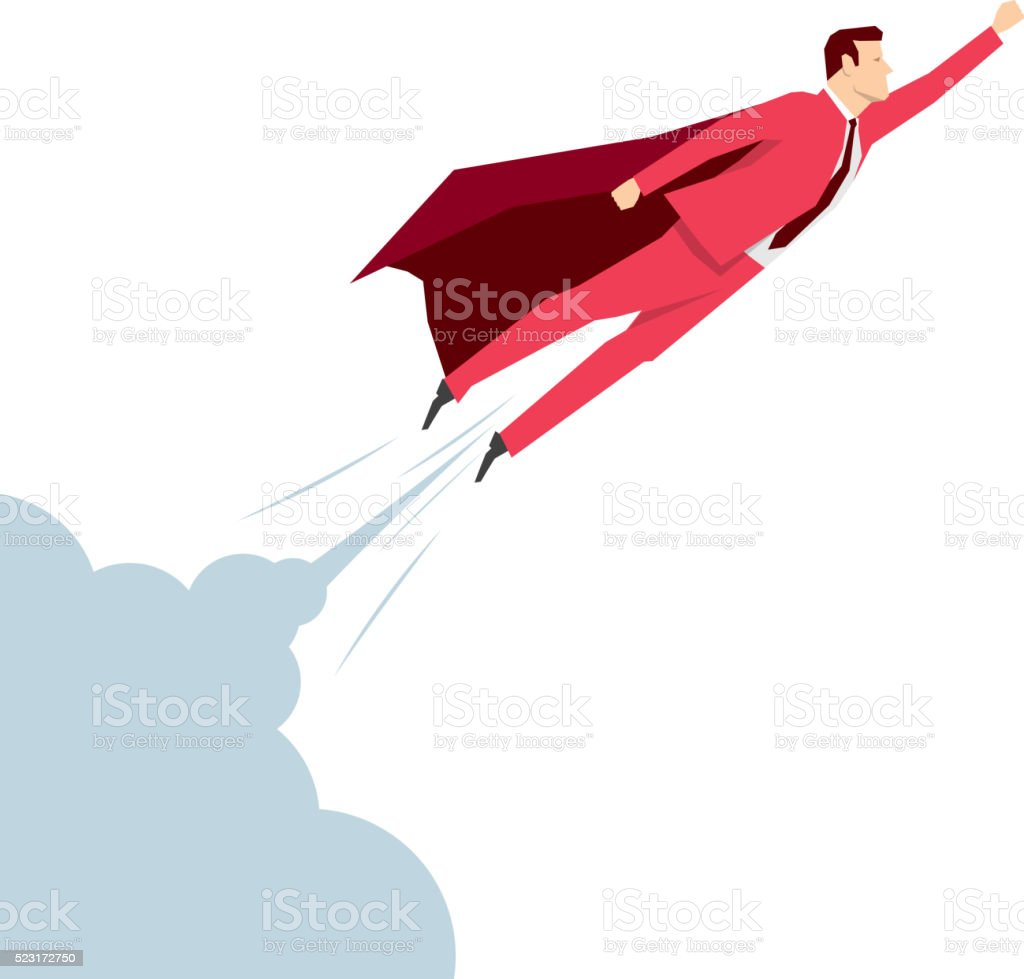 Red suit businessman vector art illustration