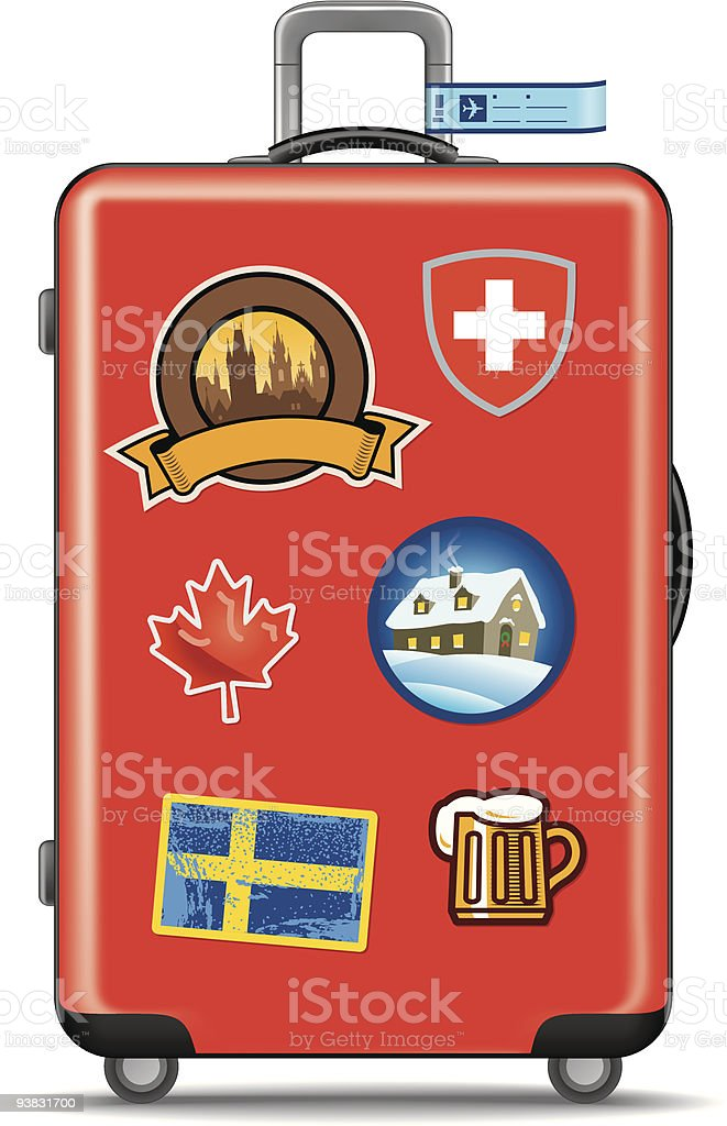 Red suitcase for travel with stickers vector art illustration