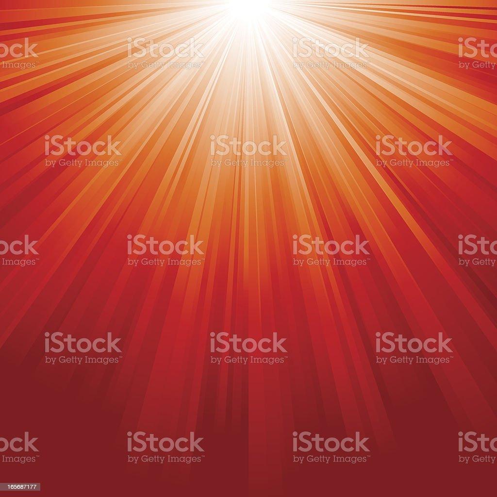Red Sunburst vector art illustration