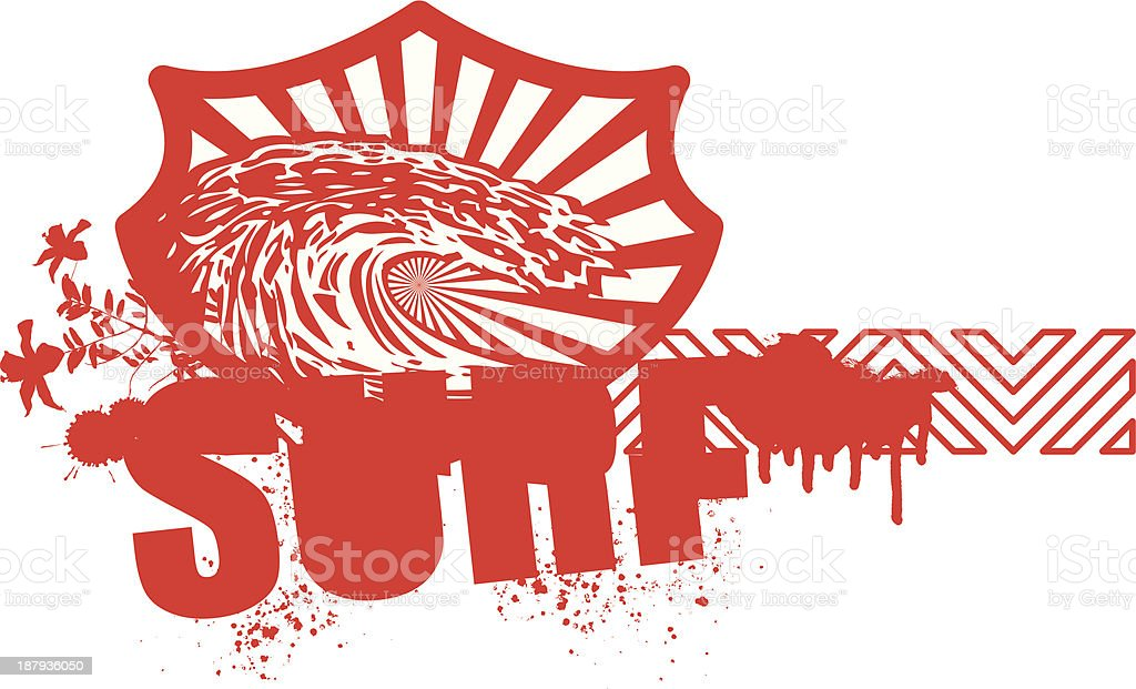 red surf banner with wave and hibiscus royalty-free stock vector art