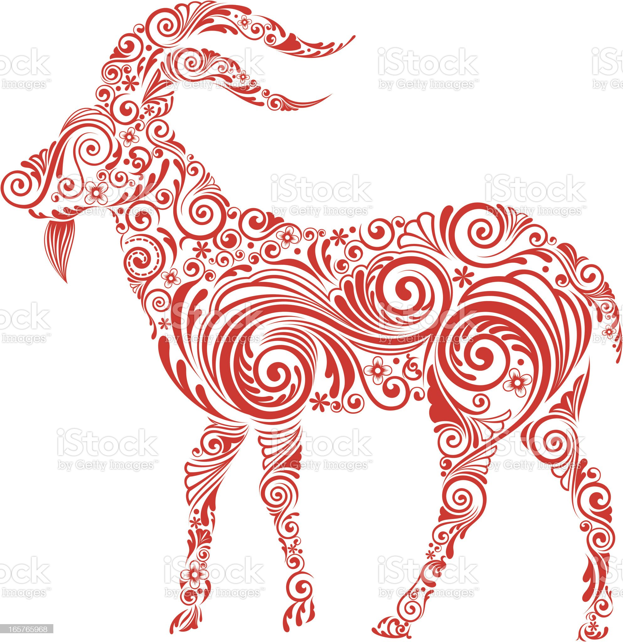 A red swirly design of a goat on a white background royalty-free stock vector art