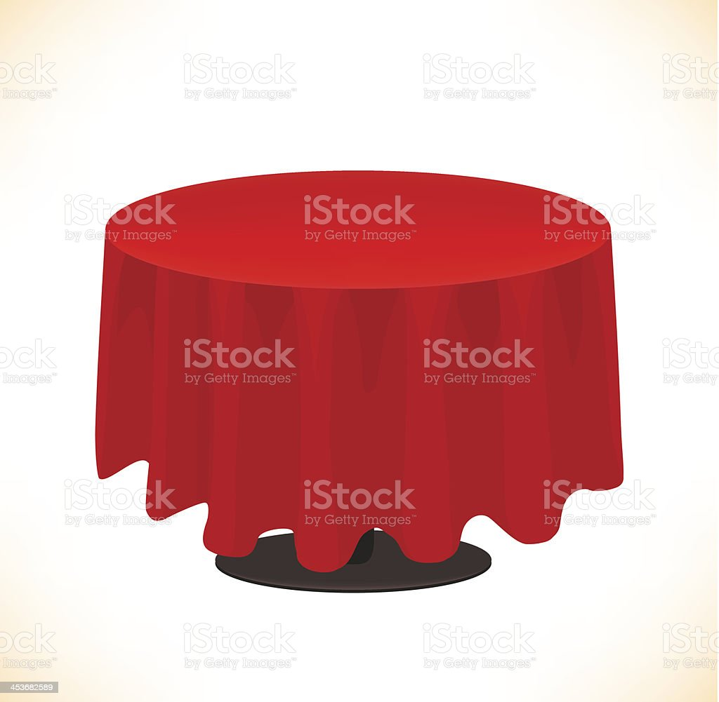 Empty Round Table With Red Tablecloth Clip Art, Vector Images U0026  Illustrations