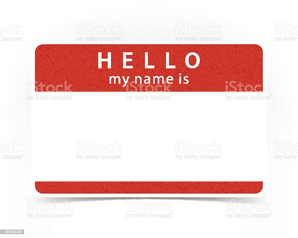 Red Tag Hello My Name Is Sticker Label Shadow vector art illustration