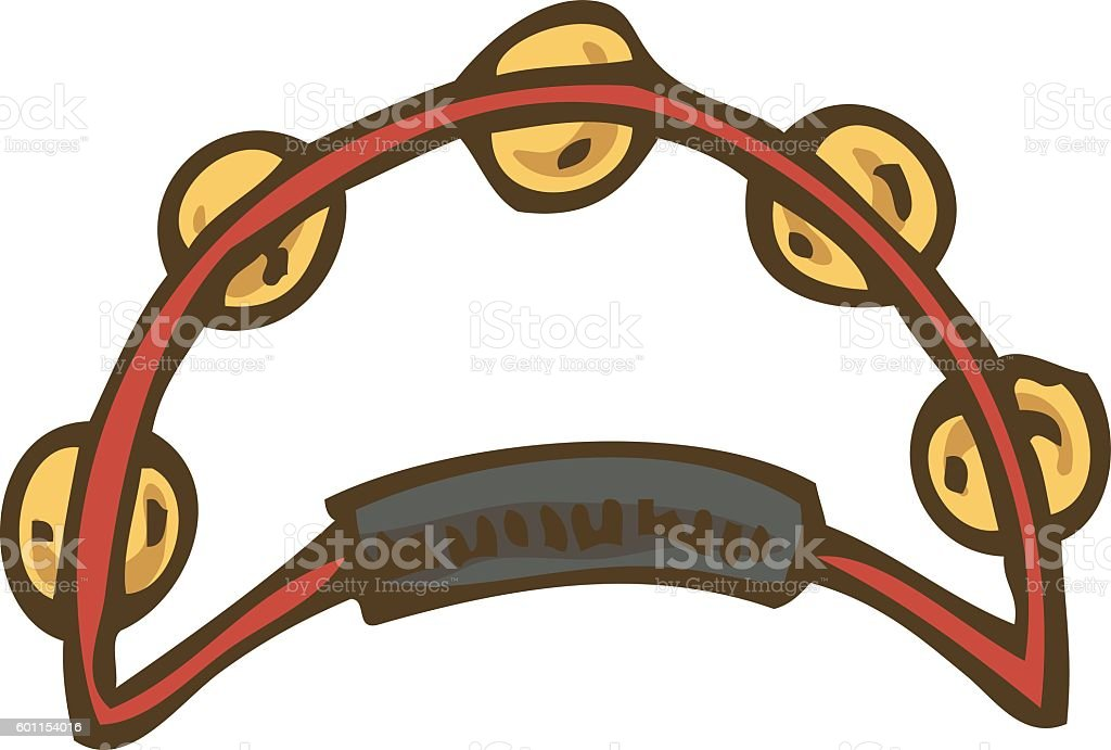 Red Tambourine with Jingles vector art illustration