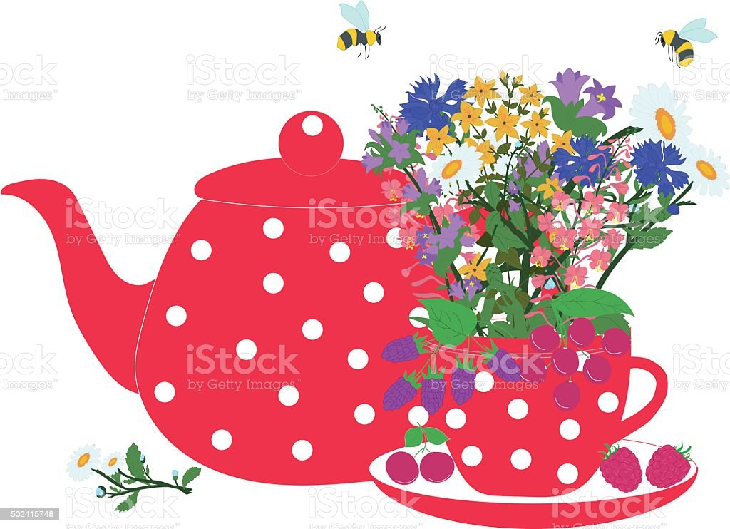 Red teapot and cup with herbs and berries vector art illustration