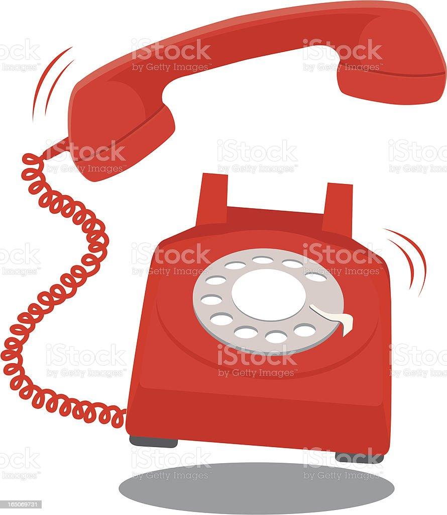 Red Telephone Ringing vector art illustration