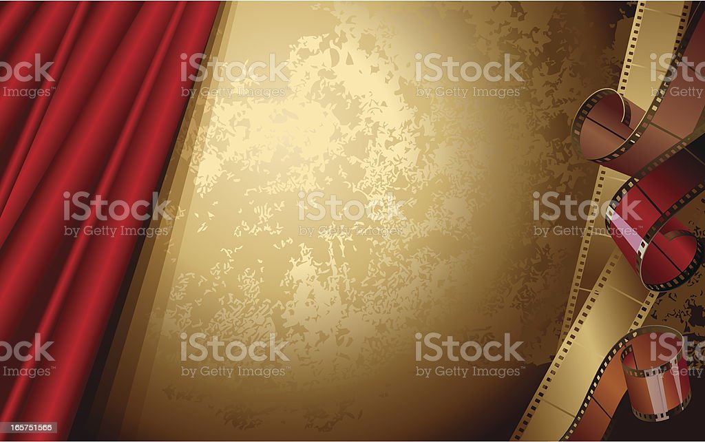 Red theater curtain on a bronze background with film strips royalty-free stock vector art