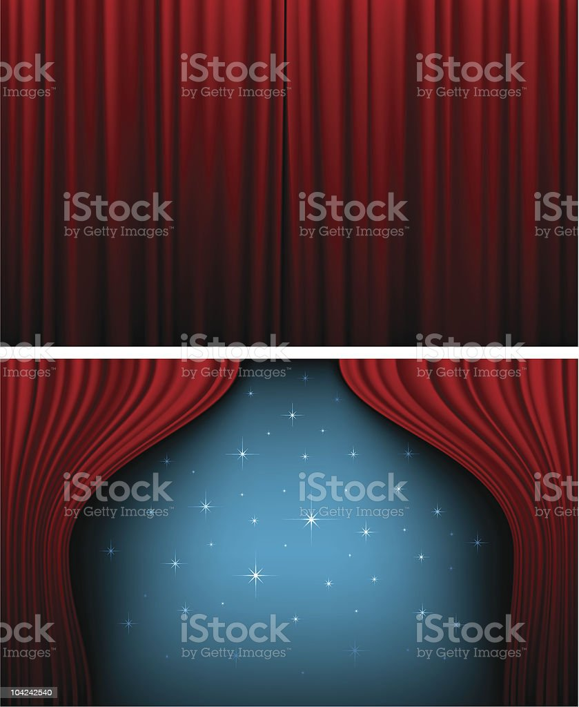 Red theater curtains opened and closed vector art illustration