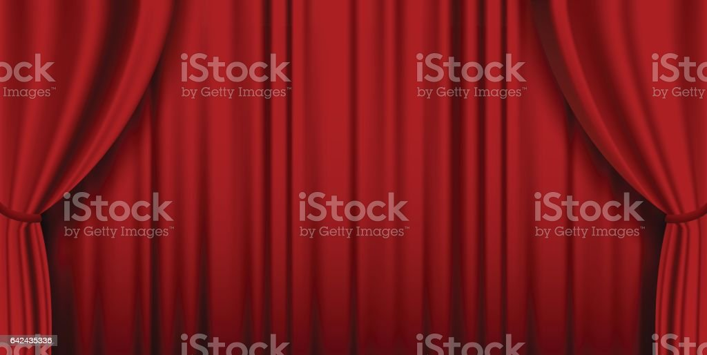 Red theater heavy curtain vector background vector art illustration