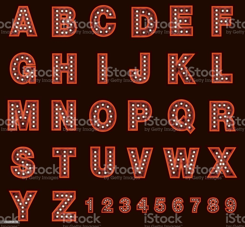 Red Theatre alphabet  including numbers set with lights vector art illustration