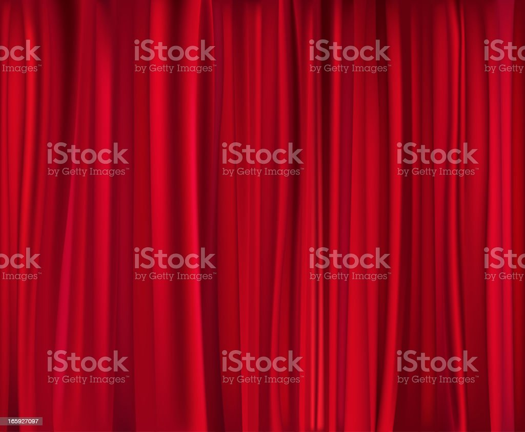 Red theatre curtain which has been closed vector art illustration