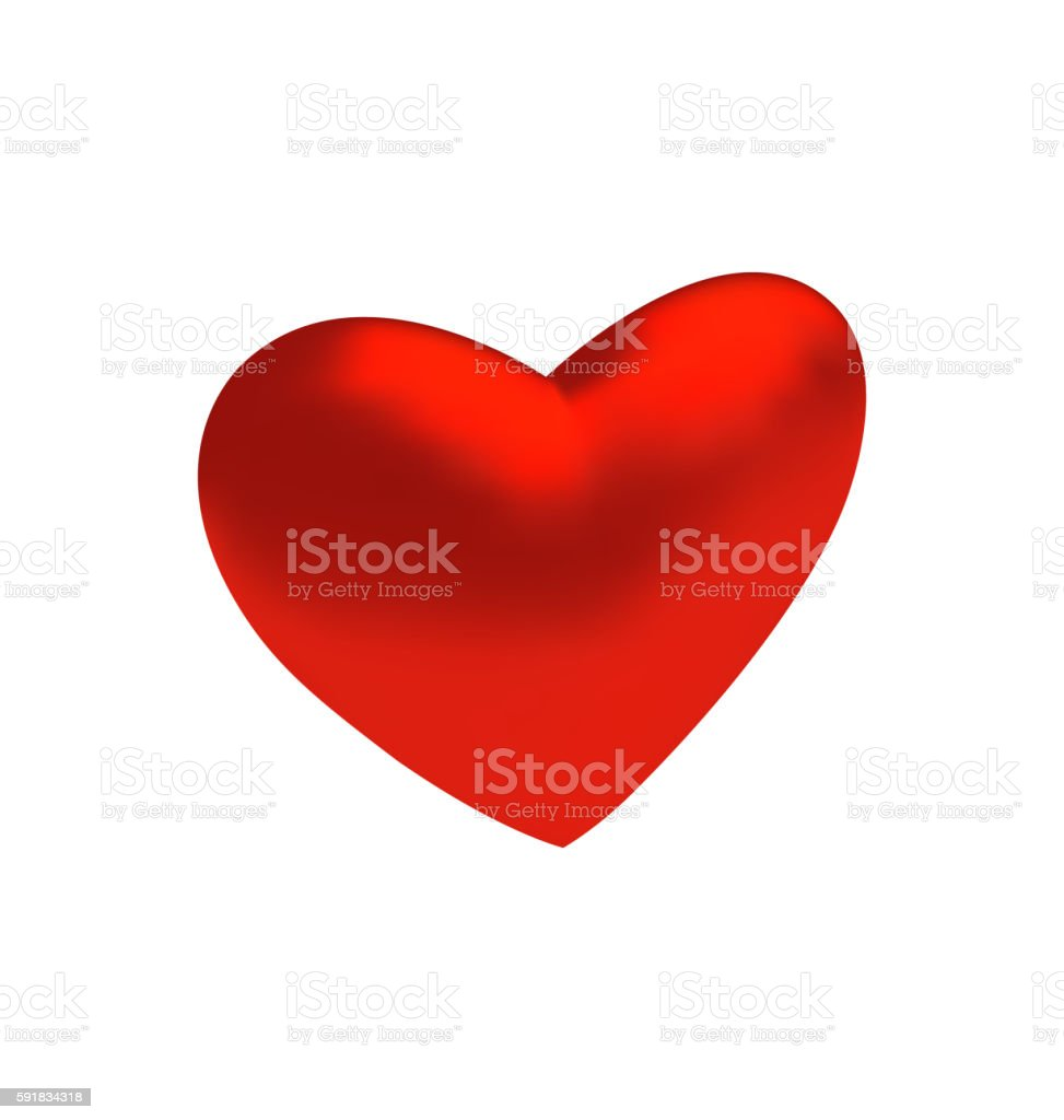 Red three-dimensional heart isolated on white background vector art illustration