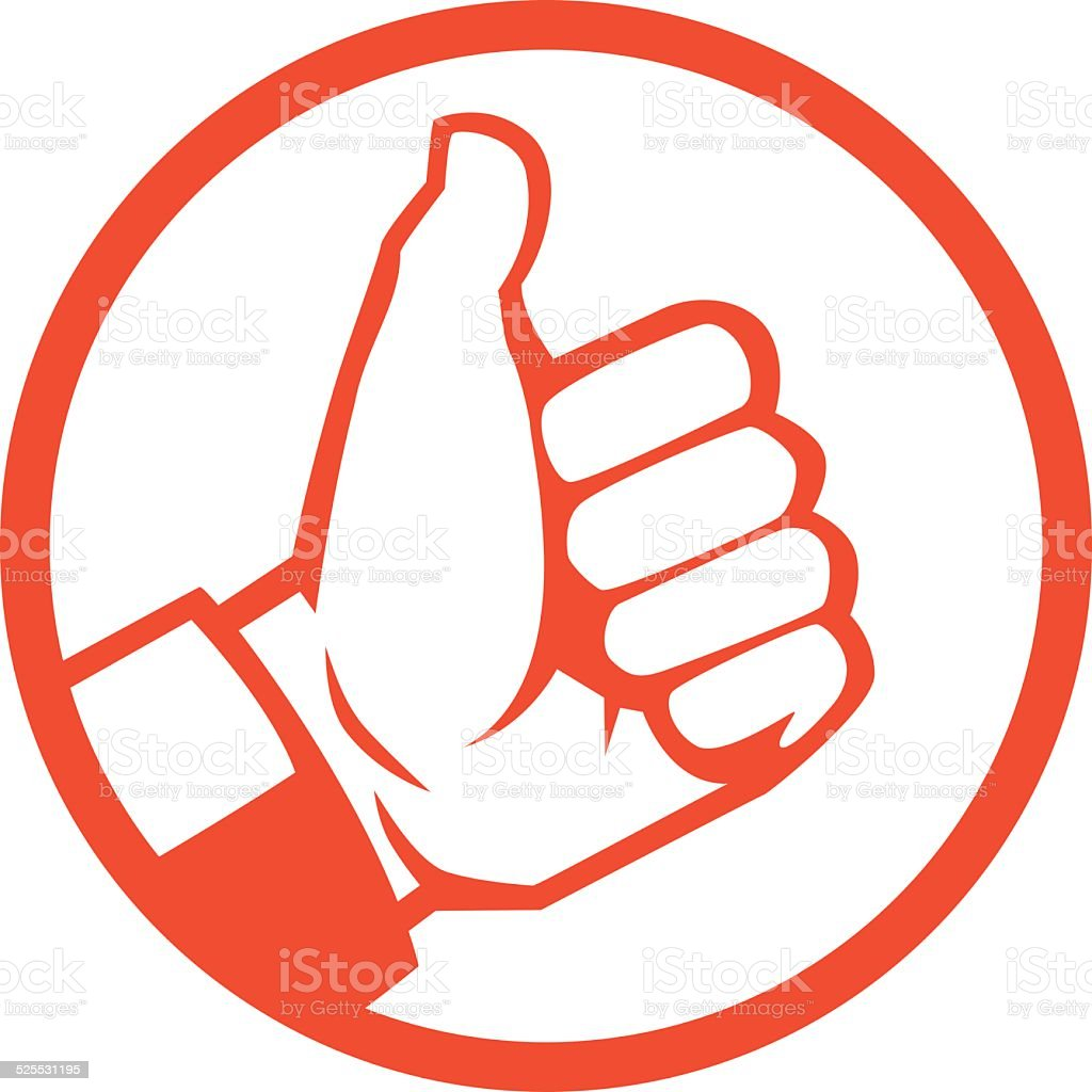 red thumbs up vector art illustration
