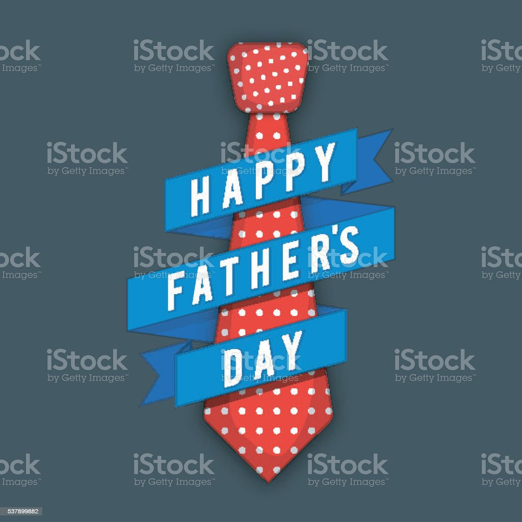 Red Tie with Blue Ribbon for Father's Day celebration. vector art illustration