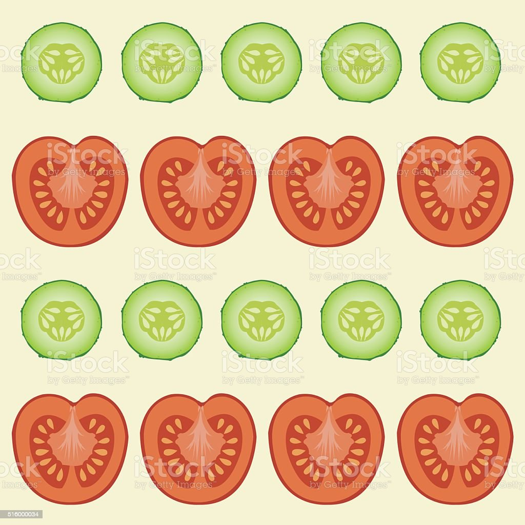 red tomatoes and green cucumbers vector art illustration