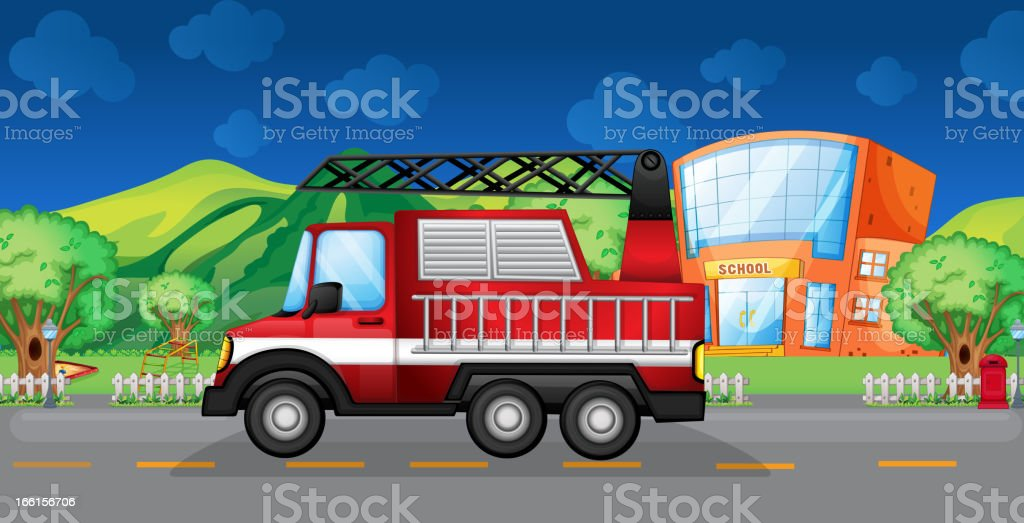 Red towing truck royalty-free stock vector art