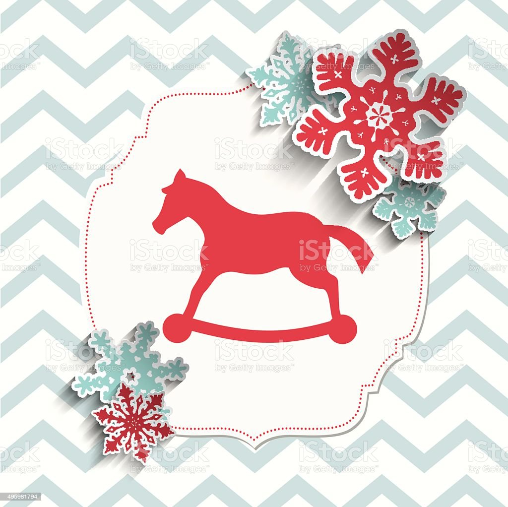 red toy pony with abstract snowflakes on beige chevron background vector art illustration