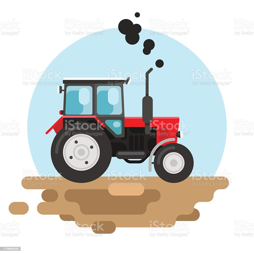 Red tractor a side view vector art illustration