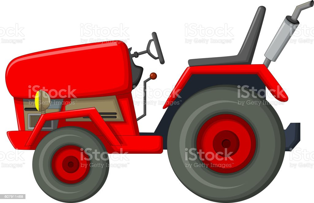 red tractor cartoon for you design vector art illustration