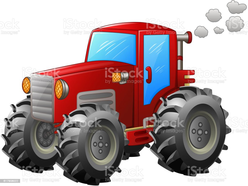 Red tractor on white backround vector art illustration