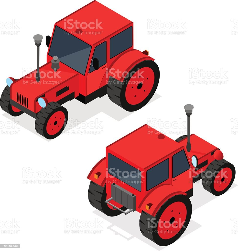 Red Tractor Set Isometric View. Vector vector art illustration