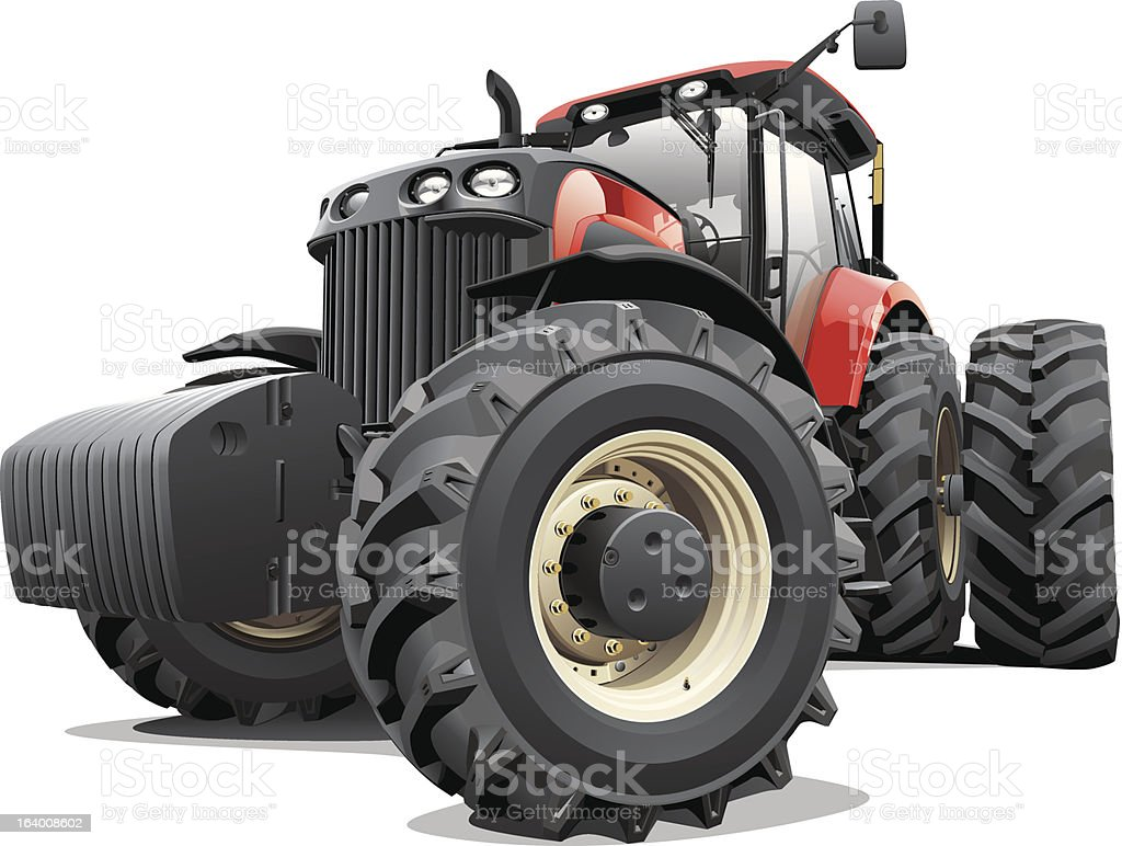 Red Tractor with Large Wheels vector art illustration
