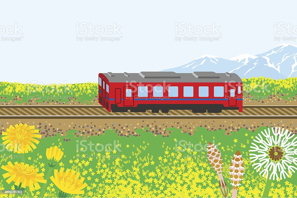 Red train in spring nature vector art illustration