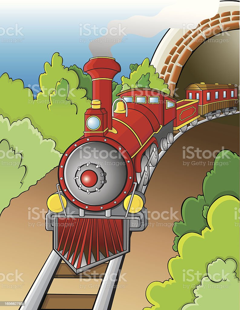 Red train out of tunnel vector art illustration