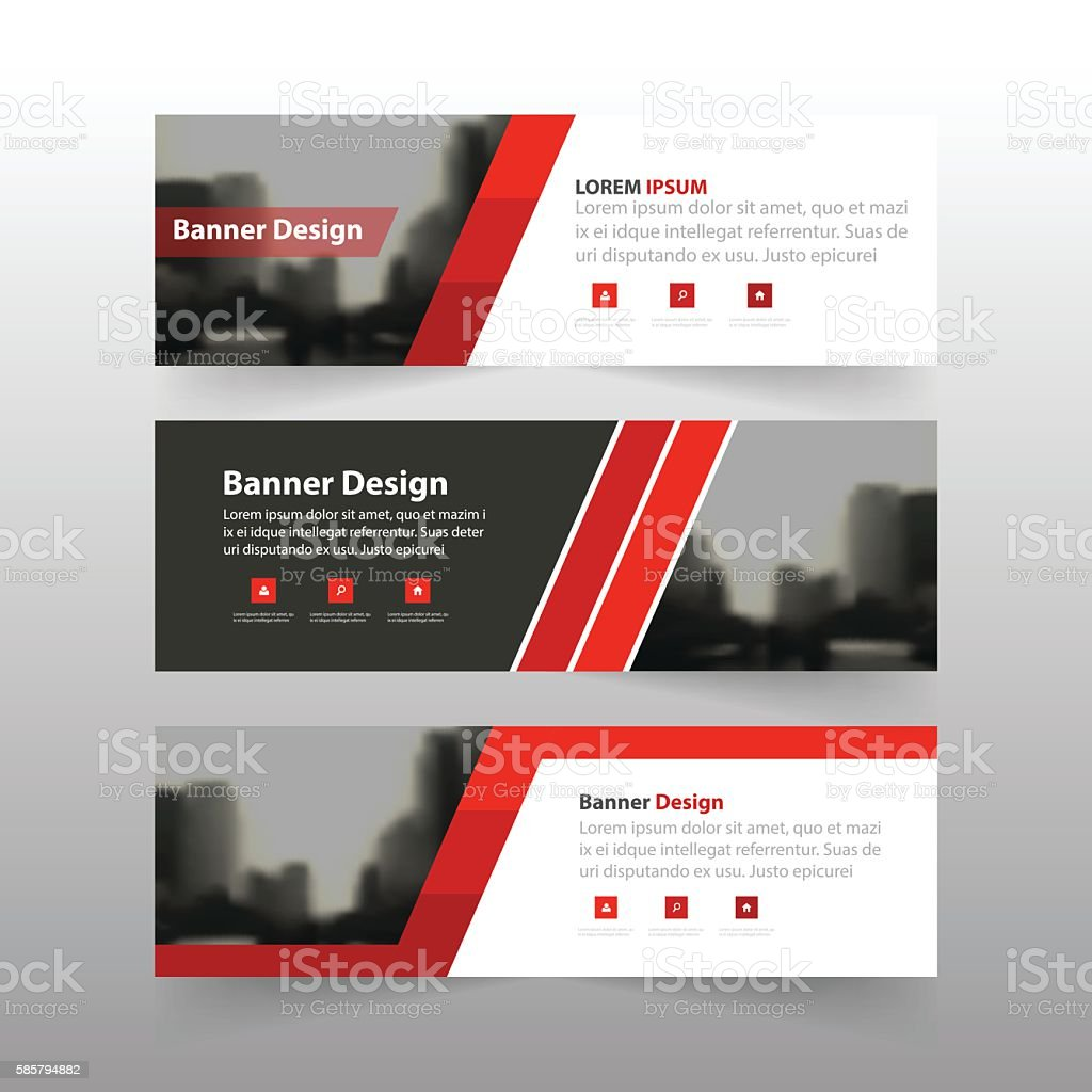 red triangle abstract corporate business banner template 1 credit