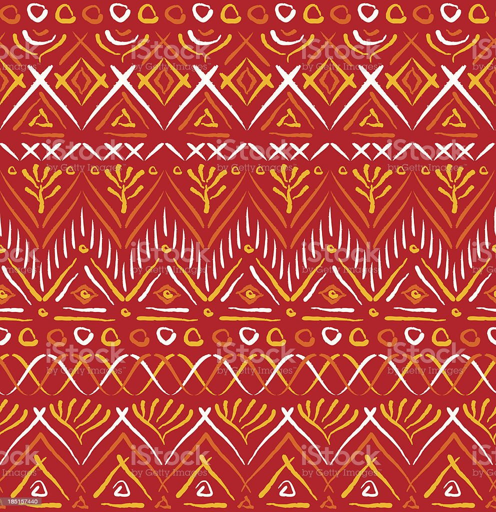 Red tribal ethnic seamless pattern vector art illustration