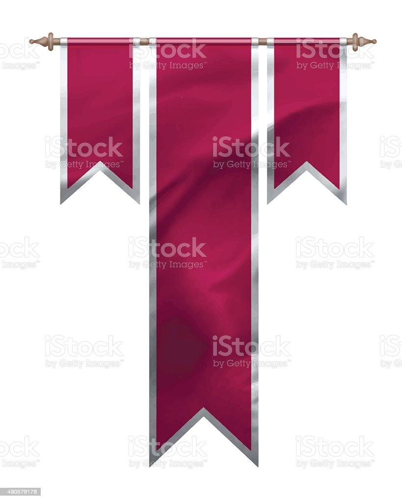 Red triple flag vector art illustration