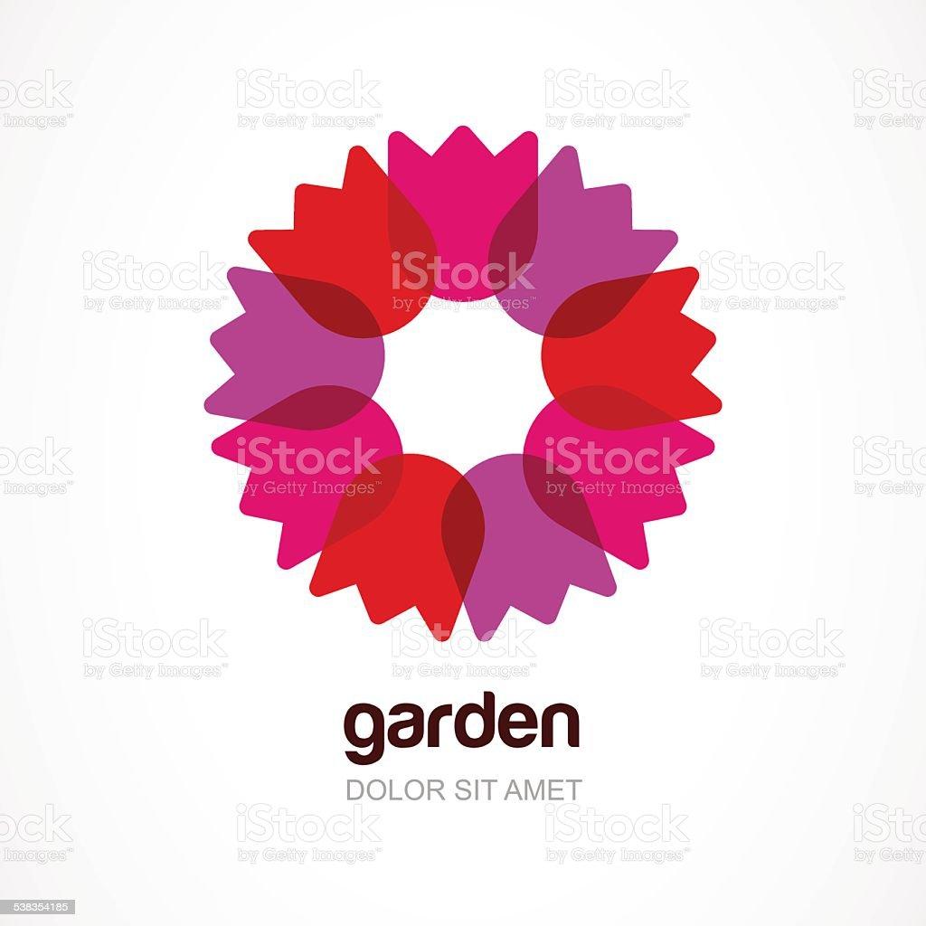 Red tulip flower in circle, vector logo template. vector art illustration