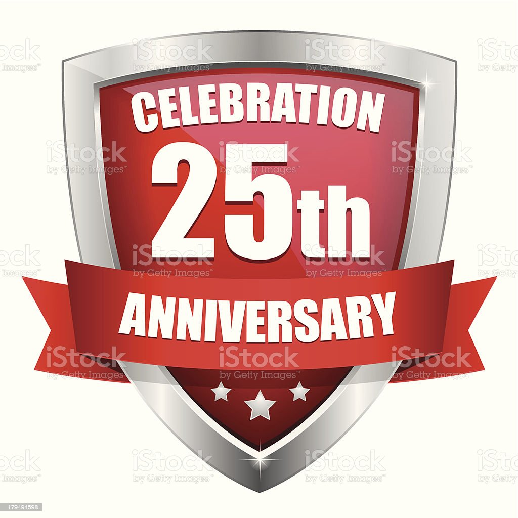 Red twenty-five year anniversary button royalty-free stock vector art