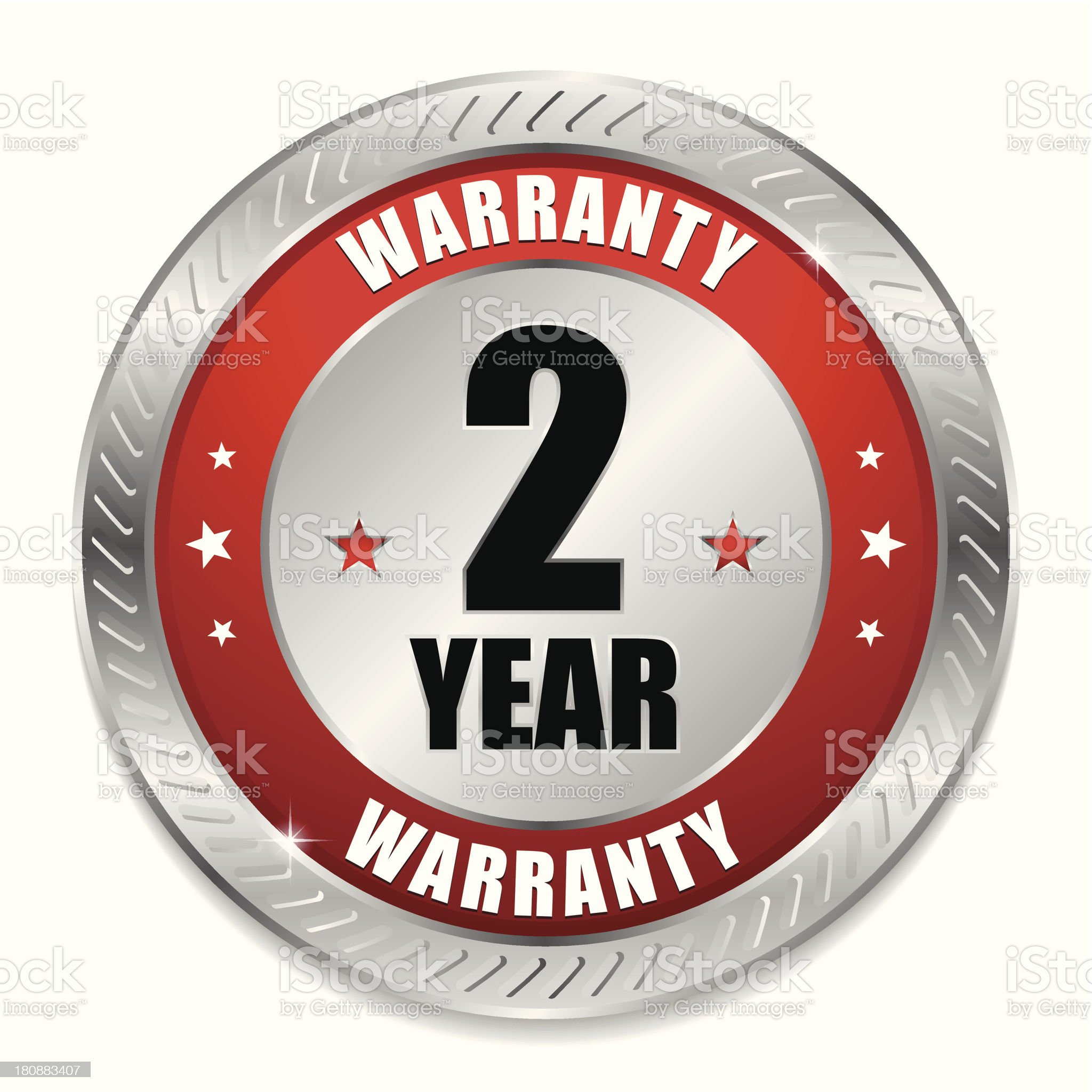 Red two year warranty seal royalty-free stock vector art