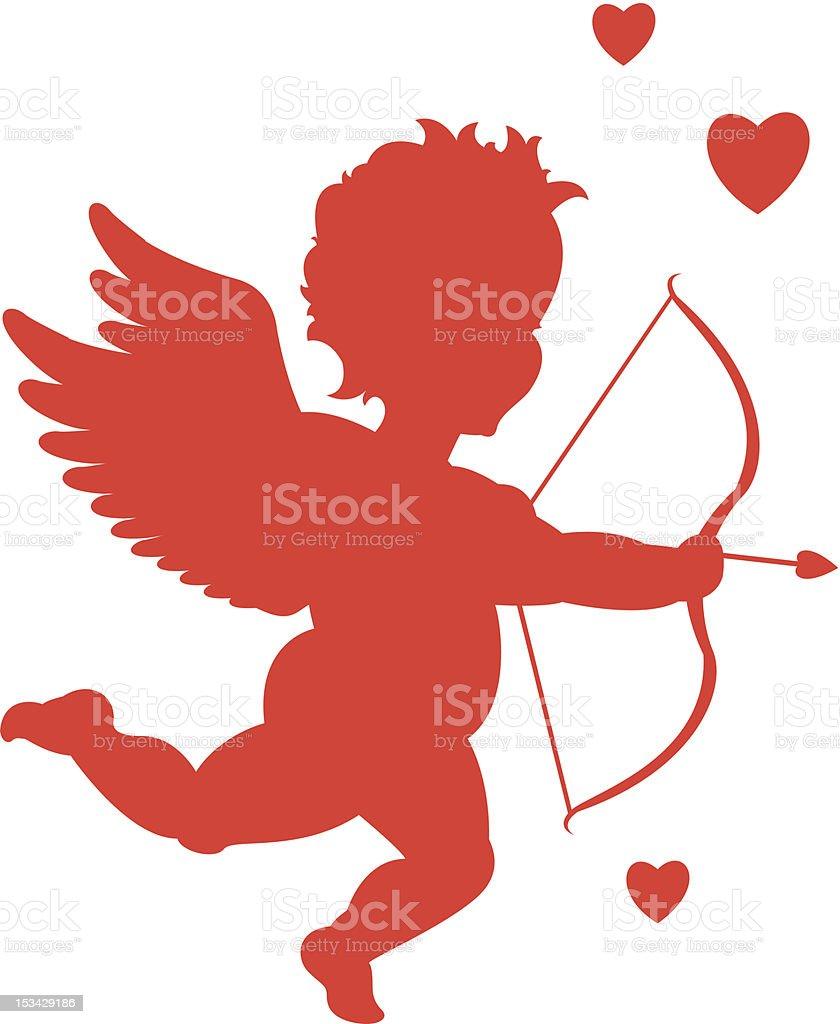 Red valentine cupid vector art illustration