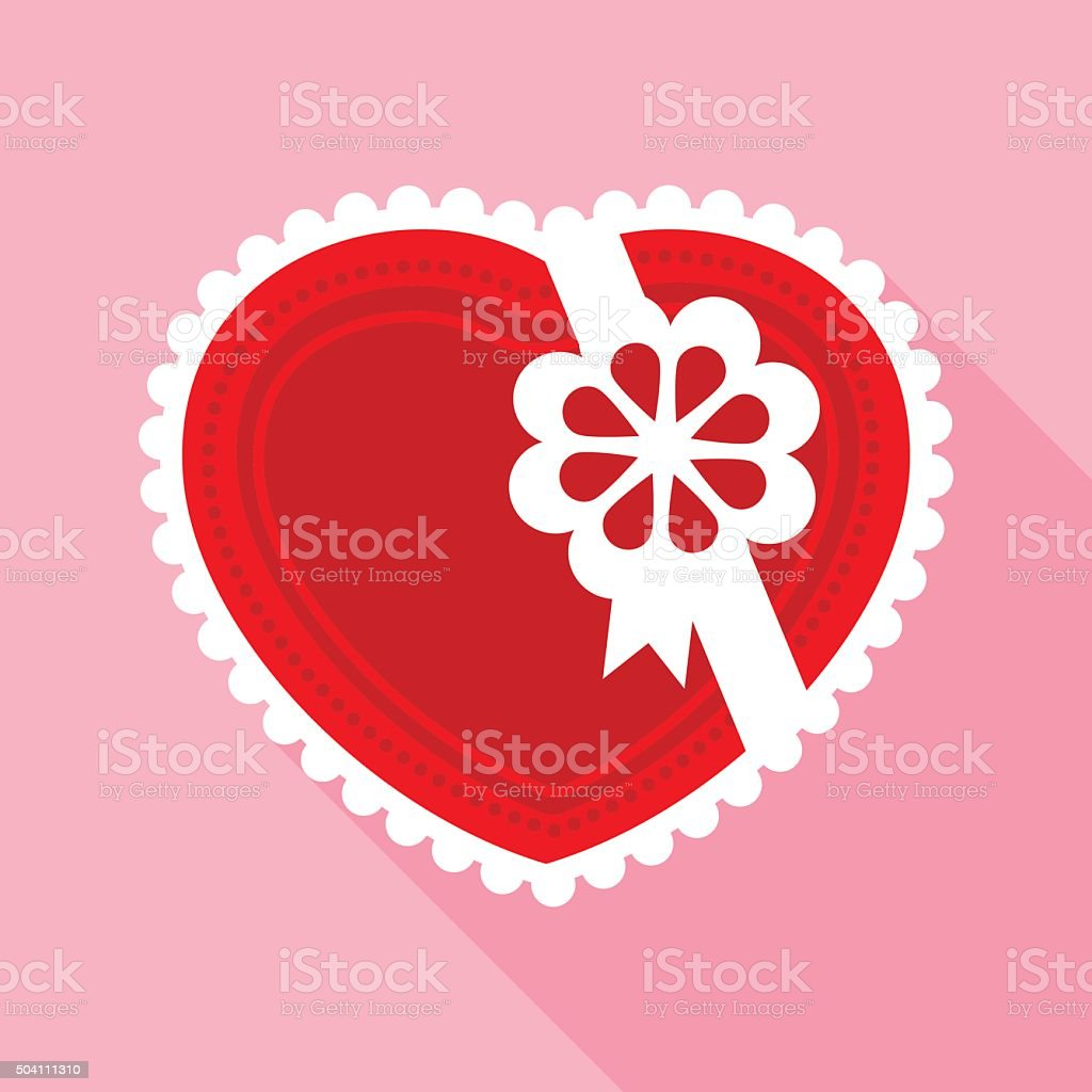 Red Valentine Heart for Gift in Flat Style vector art illustration