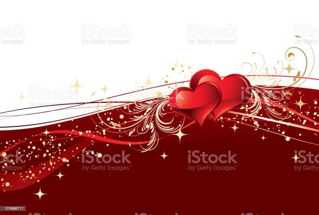 Red  valentines background vector art illustration