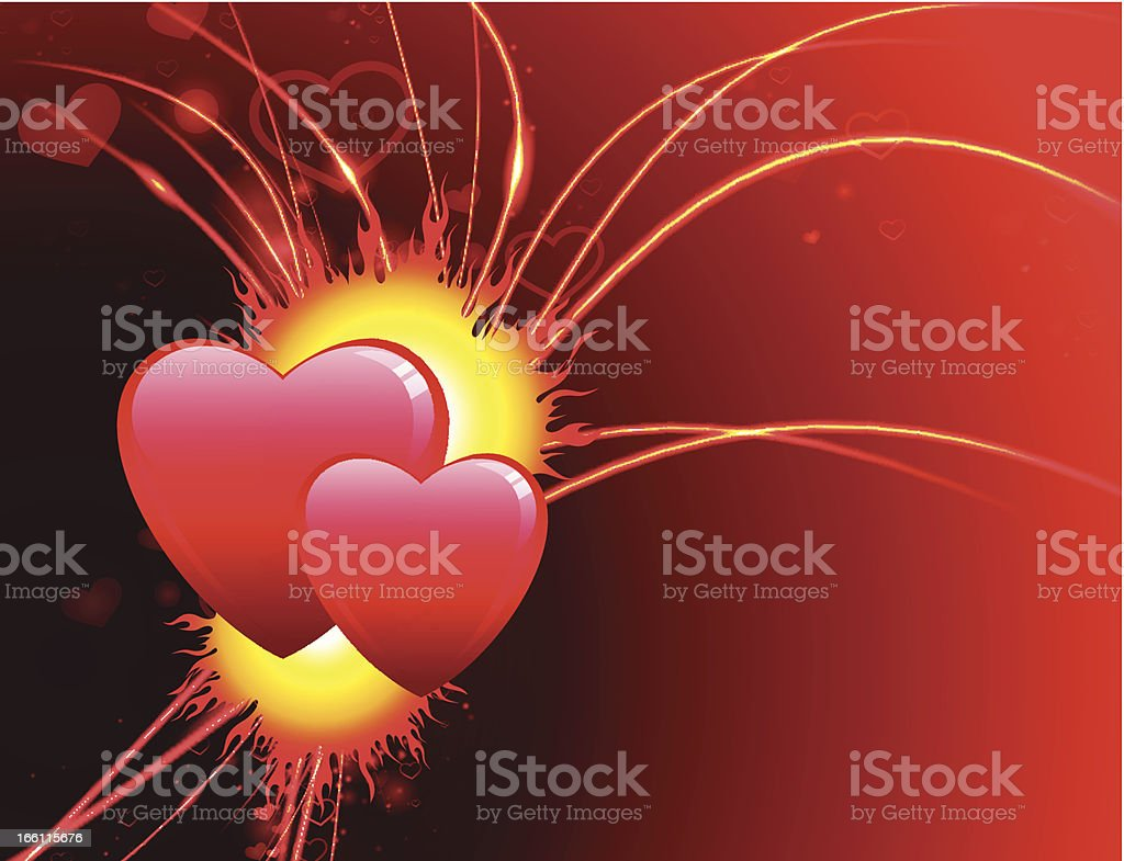 Red Valentine's Day background with Hearts royalty-free stock vector art