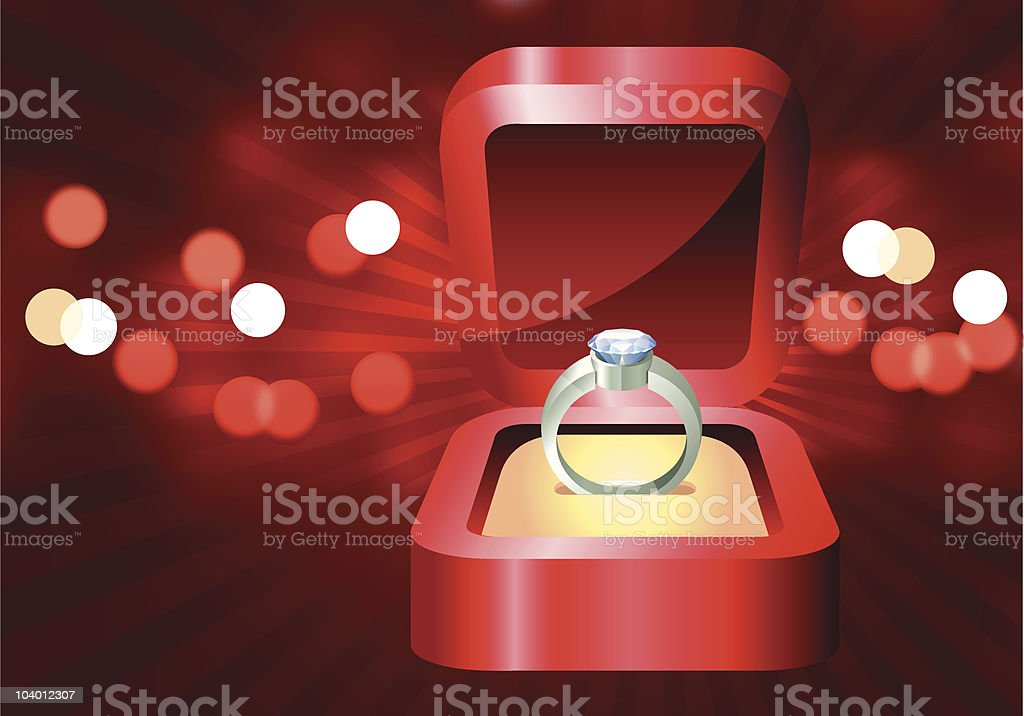 Red Valentine's day light background with diamond engagement ring royalty-free stock vector art
