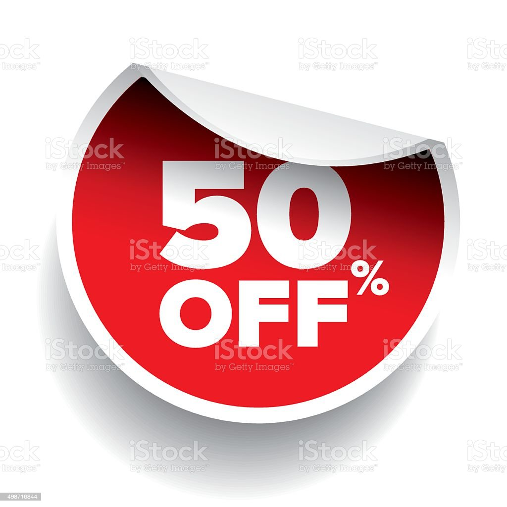 red vector 50% discount price sign vector art illustration
