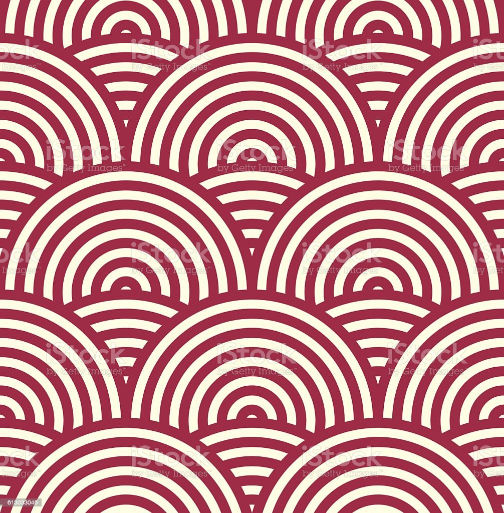 Red vector endless pattern created with round stripes vector art illustration