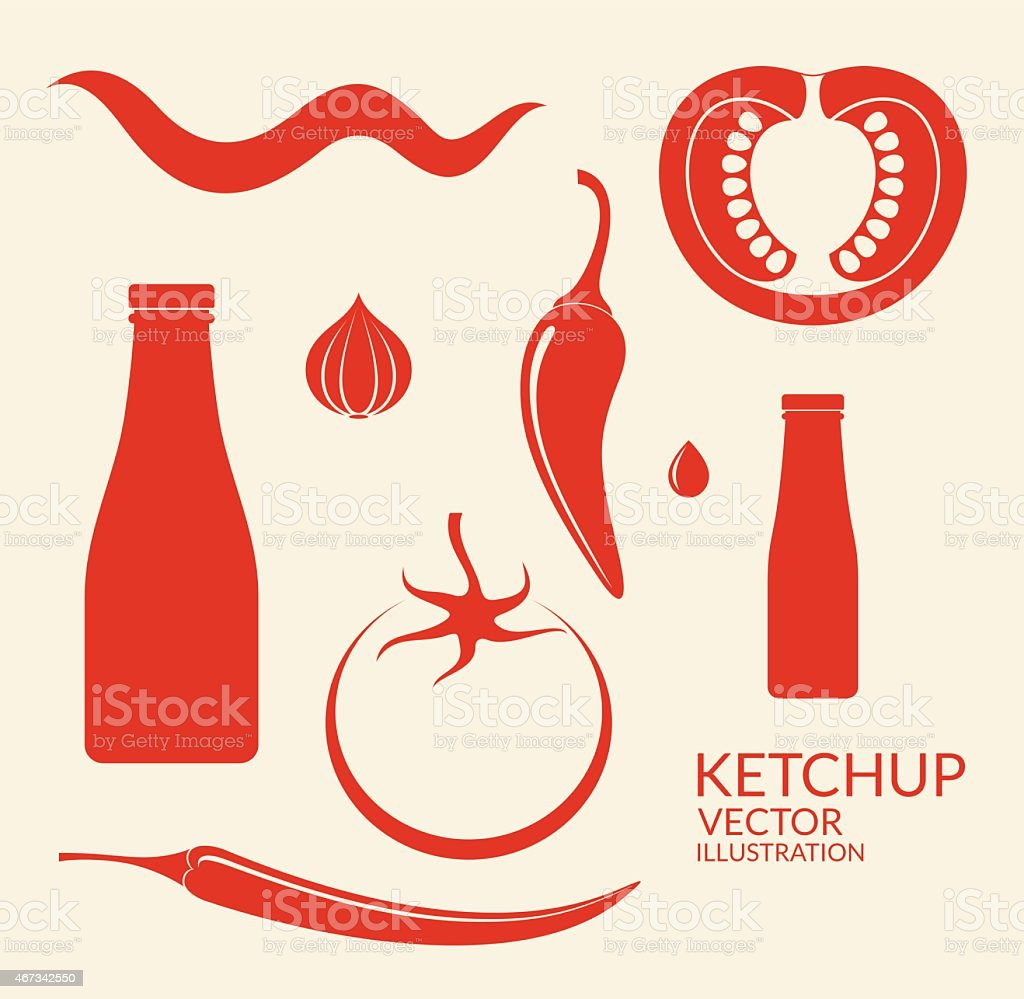Red vector graphic images of tomato ketchup elements vector art illustration