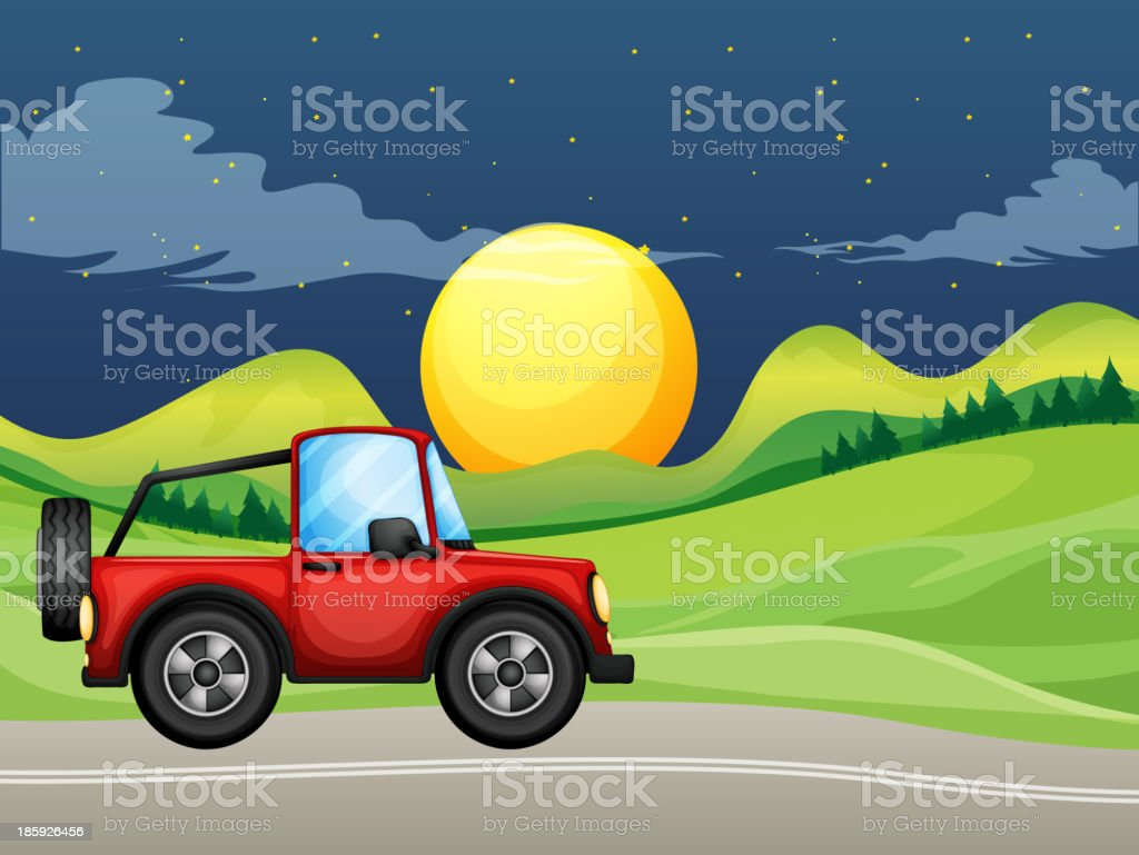 red vehicle at the street royalty-free stock vector art