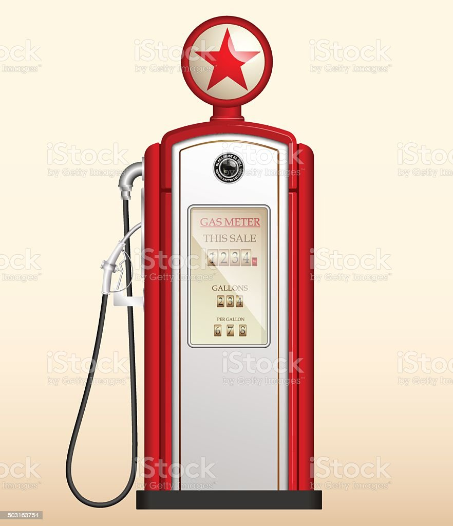 red vintage gas station in the US vector art illustration