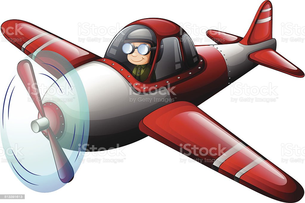 Red vintage plane with a pilot vector art illustration